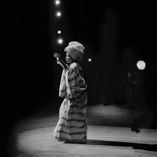 Kwame Brathwaite, Untitled (Pat on Stage at Apollo Theater) (1968). Image courtesy of the artist and Philip Martin Gallery, Los...