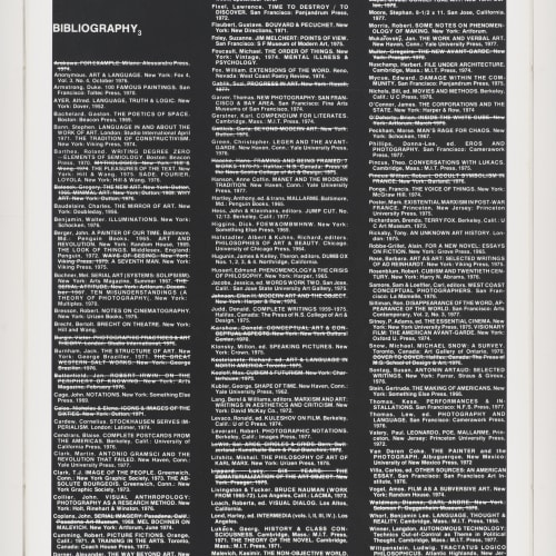 "Lew Thomas, ""BIBLIOGRAPHY 3,"" from the series Reproductions of Reproductions, (1977)."