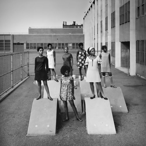 "Kwame Brathwaite, ""Untitled (Photo shoot at a school for one of the many modeling groups who had begun to embrace natural hairstyles in the 1960s),"" (1966 c.), printed 2017. Archival pigment print, framed."