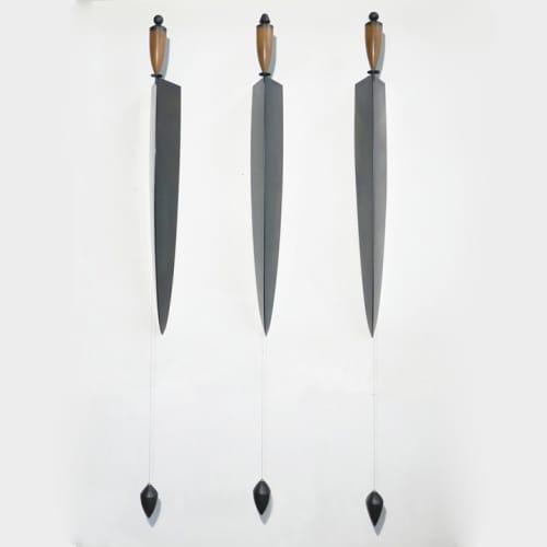 Osman Dinc - Plumb Men - 2019 - mahogany wood, tempered steel, varnish, graphite - 225 x 25 x 16 cm