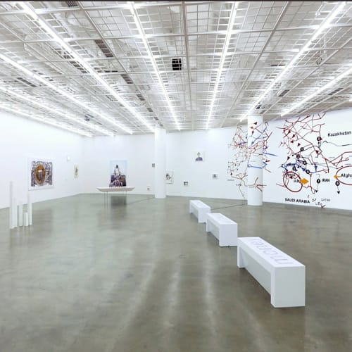 Installation view of Equation = TIME and/of Evolution in City, at the exhibition'Money Without Nationality' Art Sonje Center, 2017, [the exhibition space under normal light condition] https://vimeo.com/247592715