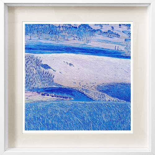 Gemma King Crossing III, 2020 jigsaw reduction linocut on Fabriano paper, framed 42 x 39cm print size frame size approx. 65 x 63cm