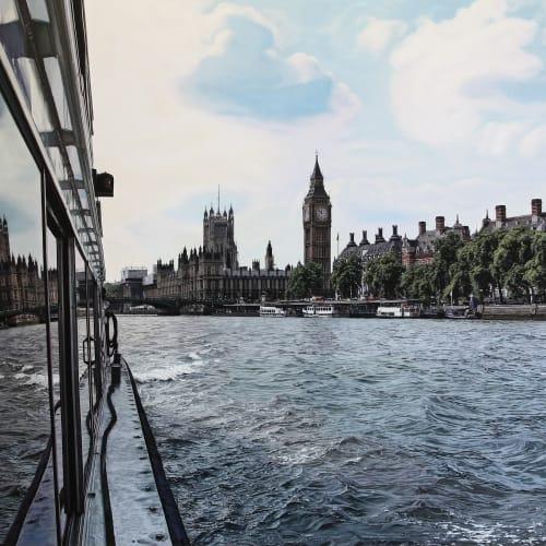 """Daniel Cuervo  """"London Waterways""""  Oil on board  82 x 140 cm"""