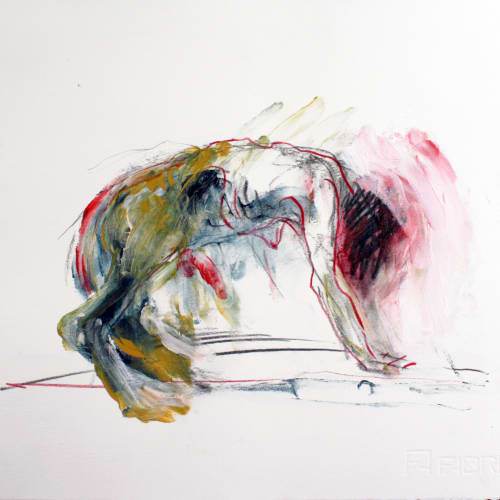 Isabelle Grobler, The Cannibals' Concupiscence : Communion with Doubt 2, 2020, Mixed media on paper, 40 x 37 cm