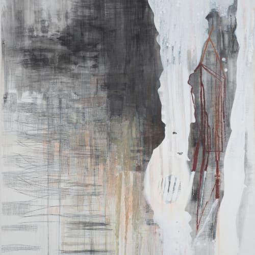 KYLIE HEIDENHEIMER - Drop, 2012, graphite, charcoal, oil on canvas, 60 x 54 in.