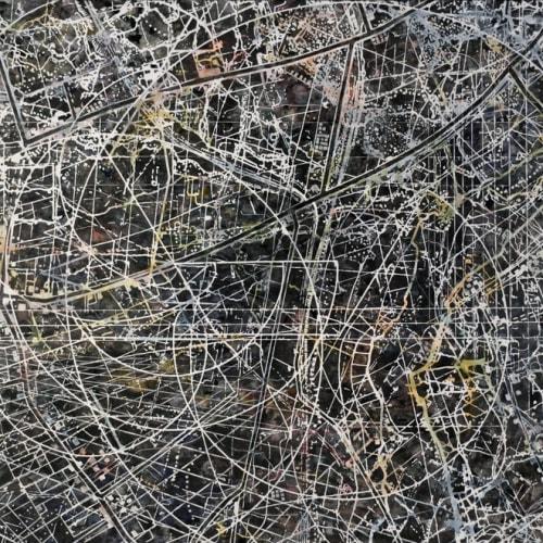 CHERYL GOLDSLEGER - Osculate, 2016, Mixed media on linen, 48 x 58 in.