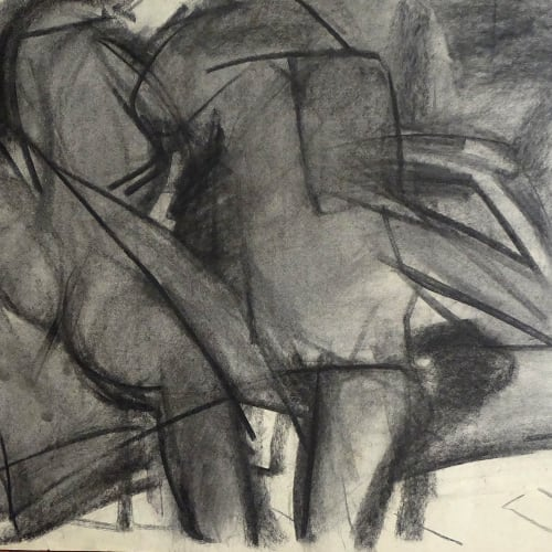 Lovers Study No.2, c.1970 Charcoal on paper 22 x 30 in