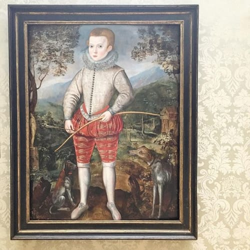 "We have now reopened after a restful Easter break. We have lots planned for the Spring season and beyond, so stay tuned. Illustrated: Studio of Robert Peake (c.1551 - 1619), ""An unknown boy, possibly of the Duncombe family of Battlesden Park, Great Brickhill, Bedfordshire, holding a bow and arrow"", oil on panel: 47 3/8 x 34 3/4 in. Painted 1596. #spring #season #easter #weekend #plans #ahead #exciting #projects #londonartweek #summer #london #2019 #robertpeake #elizabethan #portrait #english #court #painting #16thcentury #boy #bowandarrow #sporting #dogs #stags #hunt #silk #costume #doublet #breeches"