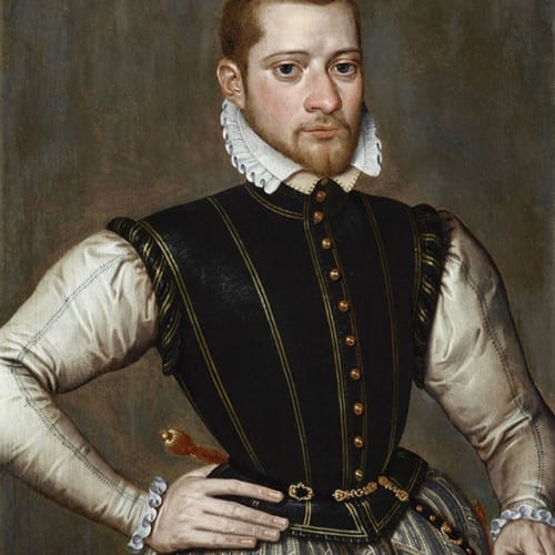"Making its debut on our walls this @londonartweek_ Antonius Claeissens (1541/2 – 1613) ""Robert van Belle, Lord of Schonewalle (c.1539/40 – c.1572)"" Oil on panel: 14 x 10 7/8 in. (35.6 x 27.8 cm.) Dated upper left to right: 'ANo DNI ~ 1563 ~ ÆTATIS· SVE ~ 24 ~' Robert van Belle, Lord of Schonwalle, from southwest Flanders, was the son of Flemish aristocracy. His family over several generations had always occupied high positions in the city of Bruges, whether mayoral or in the alderman's office. Robert himself was a younger son, and was most active as a Calvinist at a time of great religious unrest. In the late 1560s he fled to England where he continued to support the uprising against Spain from his residence in London. He seems to have earned a living at this time as a merchant, and is recorded in January 1572 as having hijacked a Spanish ship near the Isle of Wight. There is no record of his activities after this year, and it is possible that he died in London. The identity of Robert van Belle is confirmed by another portrait of the same sitter, painted two years later than ours, in 1565, by the same artist (hitherto erroneously identified as the work of Pieter Pourbus), at the Musée des Beaux-Arts in Lille. Our portrait can also be closely compared with a portrait of another citizen of Bruges, twenty-two-year-old Adolf van Cortenbach (1540 – 1594) (Gemeentemuseum, Helmond), painted by the artist in the exact same year as the present work. In both the portrait of Van Coretenbach and ours of Van Belle, the young men are wearing an identical suit of clothes. This shines a fascinating light on the artistic practices of Antonius Claeissens, the choices he offered his clients and presumably the pattern books from which he worked. Notably, the elongated fingers and peculiarly squared nails of our sitter's right hand are also mannered in precisely the same way. #claeissens #pourbus #bruges #1560s #flemish #oldmaster #portrait #portret #vanbelle #lille #londonartweek #recentacquistions"