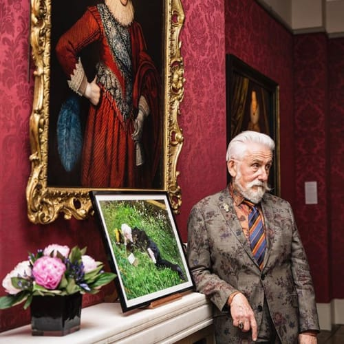 """#flashbackfriday to the book launch of Sir Roy Strong's """"The Elizabethan Image"""" held at the gallery two weeks ago. We love this photo of Roy posing with a photograph of himself in 'melancholia'. The second image shows Roy alongside fellow directors, former and present, of the @nationalportraitgallery (left to right: Charles Saunders Smith, @nicholascullinan and Sir Roy Strong). A wonderful shot of our country's greatest ambassadors for all forms of portraiture! #nationalportraitgallery #london #directors #npg #roystrong #saumarezsmith #cullinan #leaders #of #culture #ambassadors #portraits #oldmaster #modern #contemporary #painting #throwback #flashback #friday #happyfriday #bonweekend @sirroystrong @thelaskettgardens Photos by @sophielakephoto"""