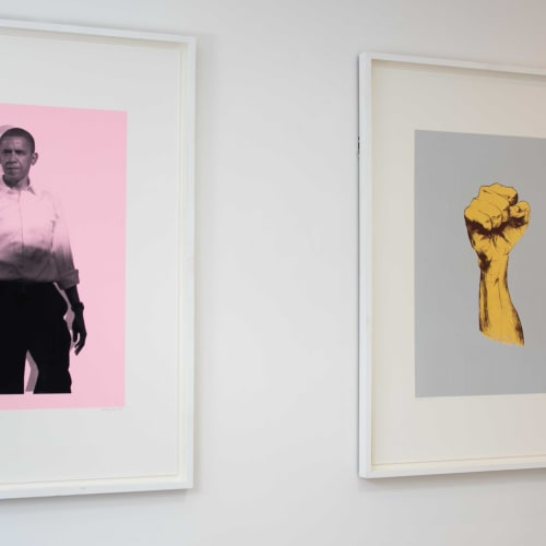 Obama Pink, 2010, and Struggle Light, 2010, installation view, courtesy of The Studio of Nicola Green