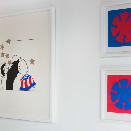 Nicola Green pictured with Our Hope, 2010, and Unity I & II, Installation view courtesy of The Studio of Nicola Green