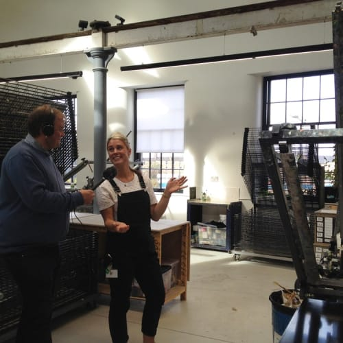 Dave Howard (Bespoken Media) and Catherine Rayner at Edinburgh Printmakers