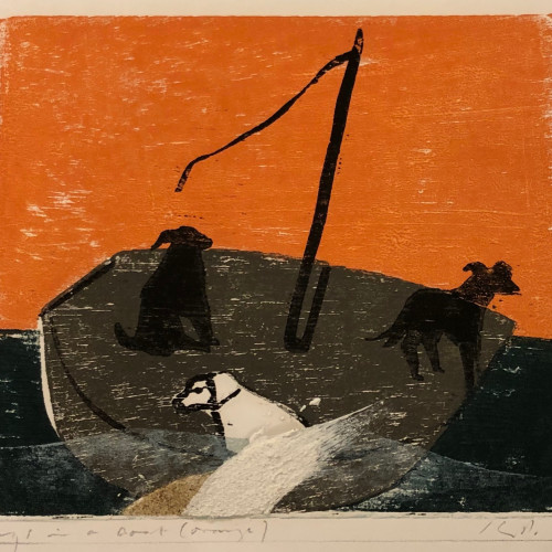 Keith Purser - Dogs in a Boat (Orange) (Hungerford Gallery)