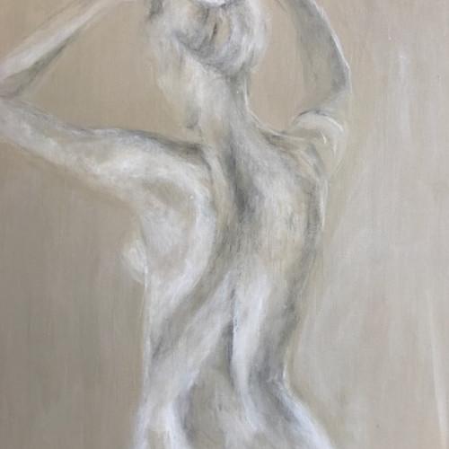Reshma Govindjee - Standing doing Hair (Hungerford Gallery)