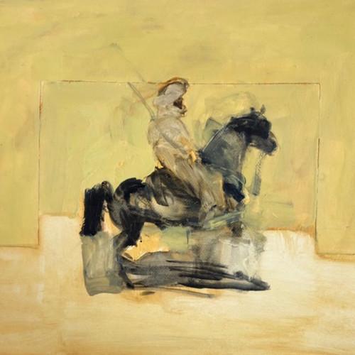Antoine de La Boulaye - Orientalist Horseman - Yellow Background (Hungerford Gallery)