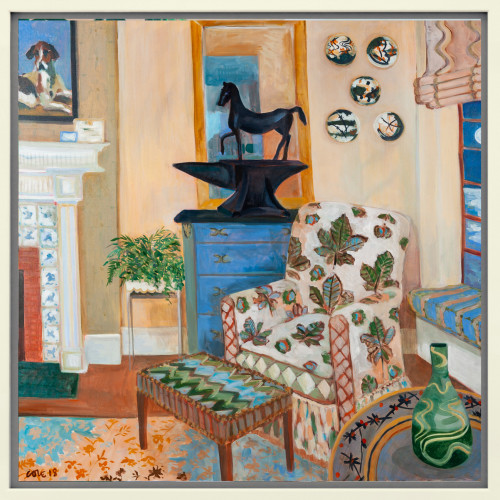 Lottie Cole - Interior with Horse Chestnut Chair, Barry Flanagan Horse on Anvil and Japanese Ceramic Plates (Hungerford Gallery)
