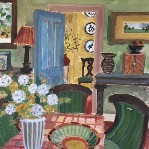 Lottie Cole - Dining Room and Green Chairs (London Gallery)