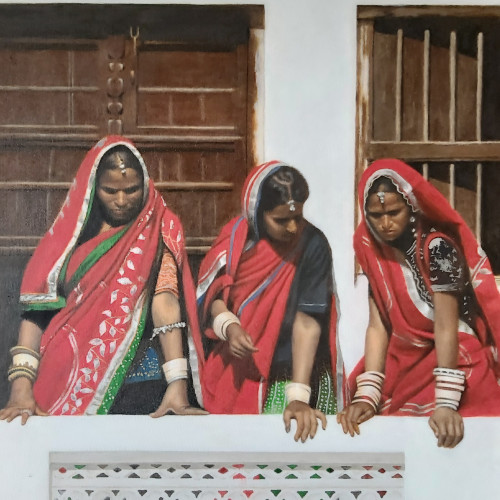 Mark Clark - Three Rajasthani Women Looking Down (London Gallery)