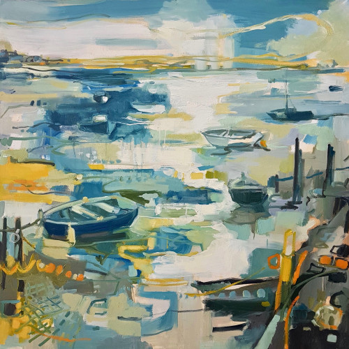 Kate Rhodes - Evening Boats on South Coast (Hungerford Gallery)