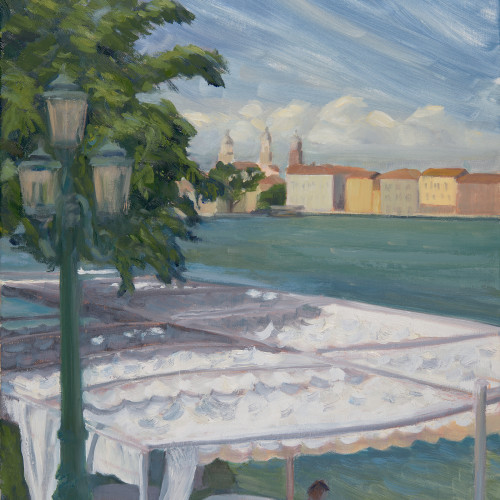 Celia Montague - Windy Day at Harry's Dolci, Venice (London Gallery)