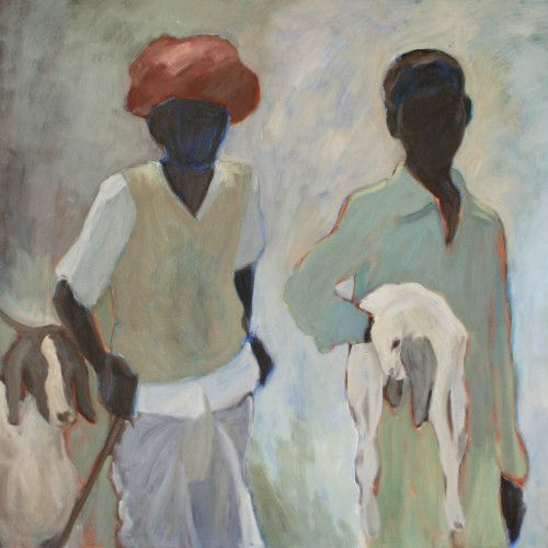 Clare Granger - Man and Boy with Goats