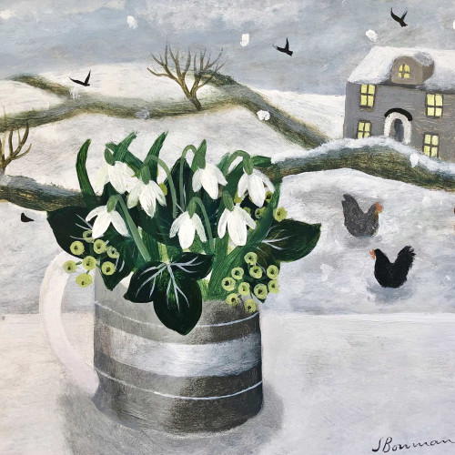Sarah Bowman - Hens in Snow (Hungerford Gallery)