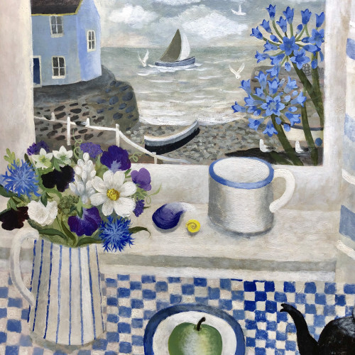 Sarah Bowman - Summer Harbour with Agapanthus (Hungerford Gallery)