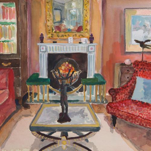 Lottie Cole - Interior with Elizabeth Frink Birdman & Atlas Figure (Hungerford Gallery)