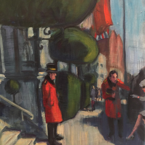 Lucy Dickens - Glamorous Lady Getting Out of Taxi to Mandarin Oriental Hotel (London Gallery)