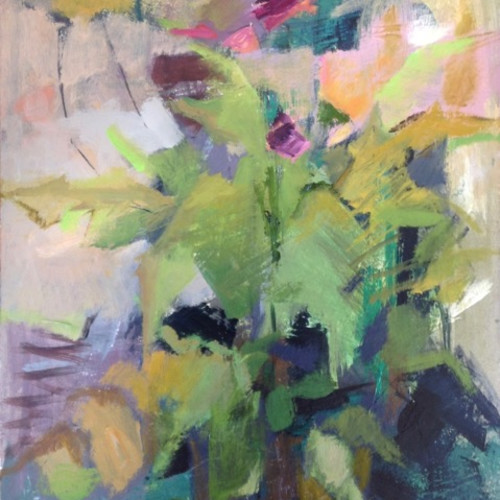 Margaret Devitt - Green Vase with Green and Pink (Hungerford Gallery)