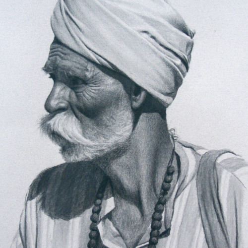 Mark Clark - Rajasthani Man with Beads (Hungerford Gallery)