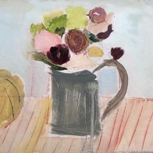 Jo Vollers - Grey Jug with Flowers (Hungerford Gallery)