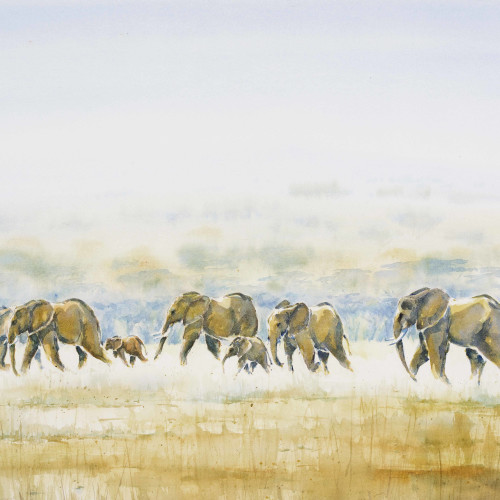 Julia Cassels - Elephants Across the Dambo (London Gallery)
