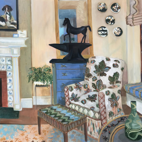 Lottie Cole - Interior with Horse Chestnut Chair, Barry Flanagan Horse on Anvil and Japanese Ceramic Plates