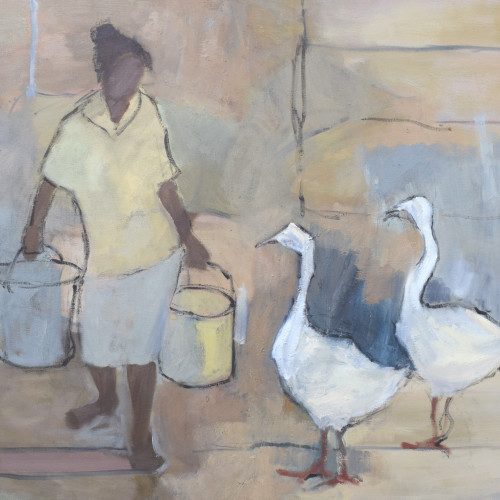 Clare Granger - Girl with Geese (Hungerford Gallery)