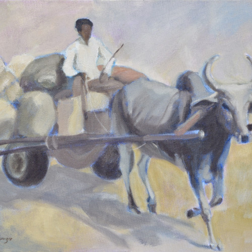 Clare Granger - Ox and Cart (Hungerford Gallery)