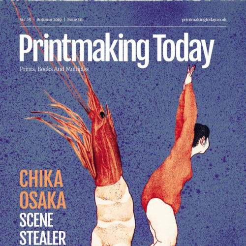 The cover of the Autumn issue of Printmaking Today 2019, featuring Chika Osaka, winner Jerwood Printmaking Today Prize 2019. A lithographer and watercolour artist whose works are rich in detail and full of humour, Osaka graduated from the Toyoko University of the Arts in 2011 and is now recognised as one of Japan's most popular emerging artists, with many sold out shows. Since winning the prize, Chika Osaka's solo exhibition Love Letters took place at Museum Franz Gertsch in Switzerland – 30 November 2019 – 8 March 2020.