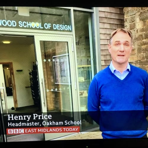 Henry Price, Headmaster, outside the Jerwood School of Design, Oakham
