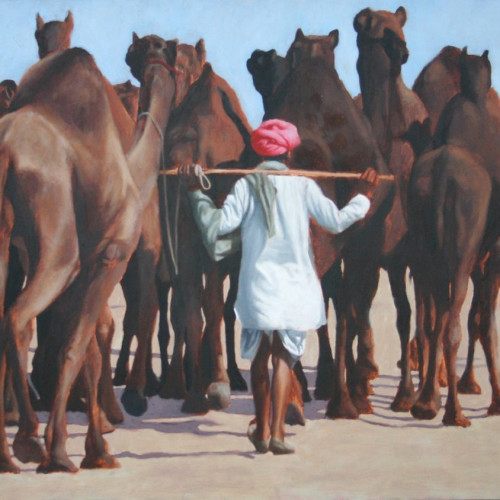 Mark Clark - Rajasthani Man with Camels