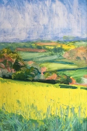 Celia Montague, Rapeseed in Flower above Charlbury (Hungerford Gallery)