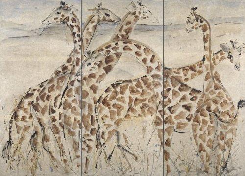 Christine Seifert, Six Giraffes (Triptych) (Hungerford Gallery)