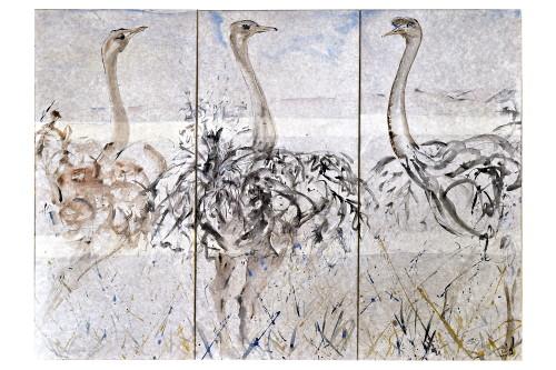 Christine Seifert, Ostrich Triptych (London Gallery)