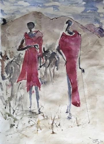 Christine Seifert, Two Maasai (Hungerford Gallery)