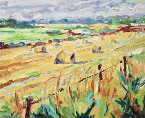 Fi Katzler, Bales in the Wheat Field (Hungerford Gallery)