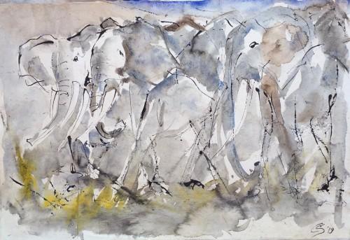 Christine Seifert, Elephants (Unframed) (Hungerford Gallery)