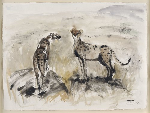 Christine Seifert, Two Cheetahs Watching (Framed)
