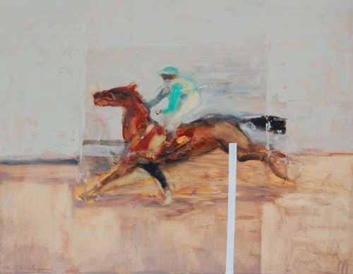 Antoine de La Boulaye, Jockey in Green Colours (Hungerford Gallery)