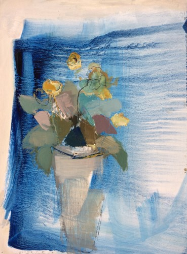 Jo Vollers, Yellow Auriculas (Hungerford Gallery)