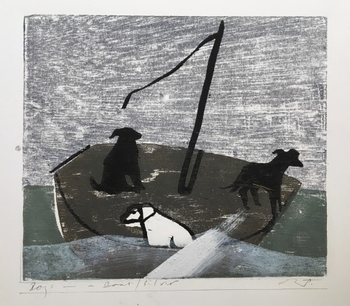 Keith Purser, Dogs in a Boat (Silver)